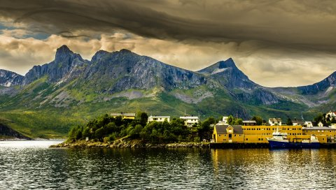 Норвежский залив, фьорд, пристань, горы, hdr