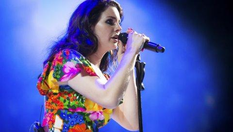 Lana del rey, coachella, исполнение, микрофон, девушка, платье