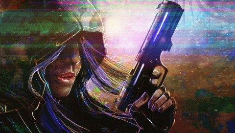 Цифровое искусство, девушка, пистолет, человеческий капюшон