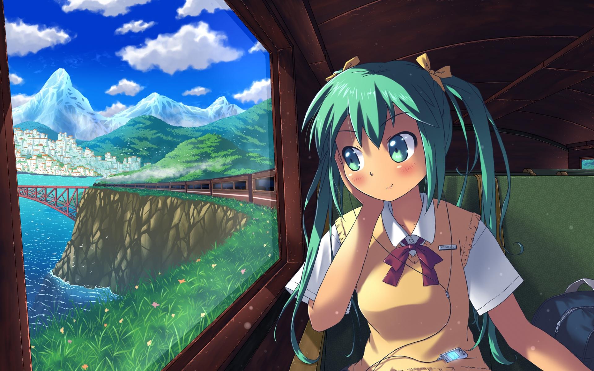 Картинки Вокалоид, hatsune miku, школьница, игрок, сумки, мост, окно фото и обои на рабочий стол