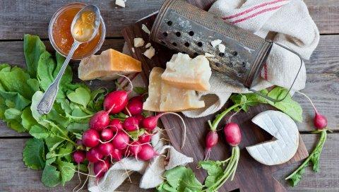 сыр, редька, мед, овощи, варенье, натюрморт