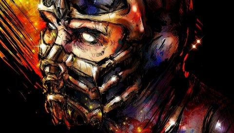 Mortal Kombat, скорпион, искусство, лицо, маска