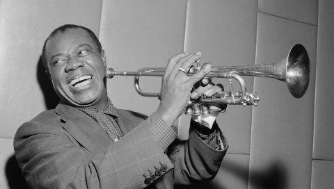 Louie armstrong, джаз, труба, bw