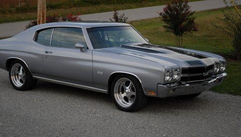 Chevrolet, chevelle, ss, 1970, серый, вид сбоку