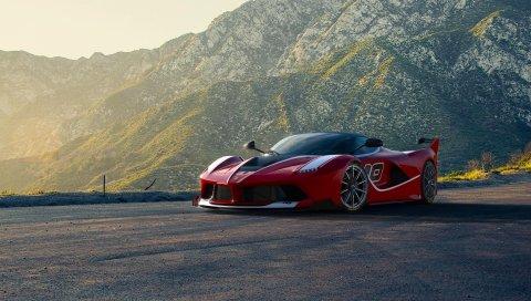 Феррари, суперкар, спортивный автомобиль, красный, горы