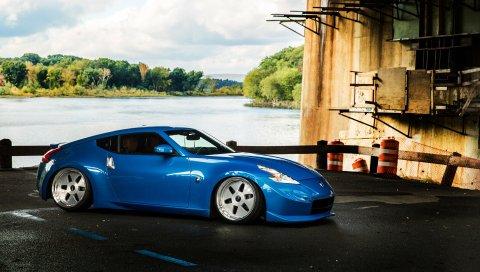 Nissan, 370z, синий, вид сбоку