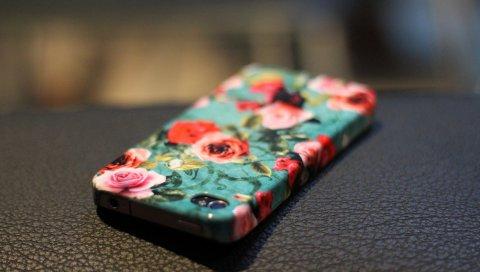 Iphone, apple, обложка, жилье, цветы