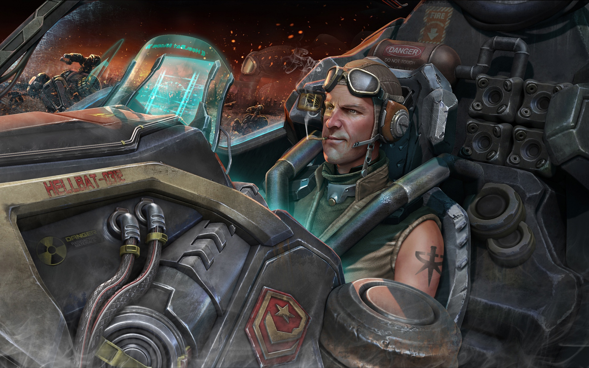 Картинки StarCraft II, StarCraft 2, мужчина, шлем, кабина, корабль фото и обои на рабочий стол