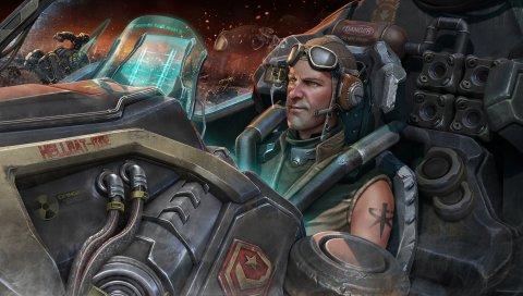 StarCraft II, StarCraft 2, мужчина, шлем, кабина, корабль