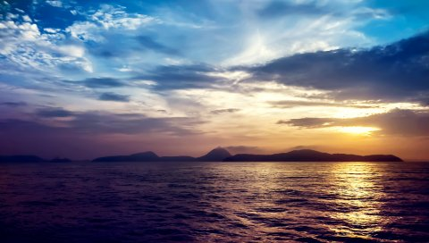 море, закат, скалы