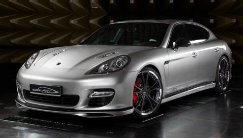Porsche, panamera, вид спереди, серебристый