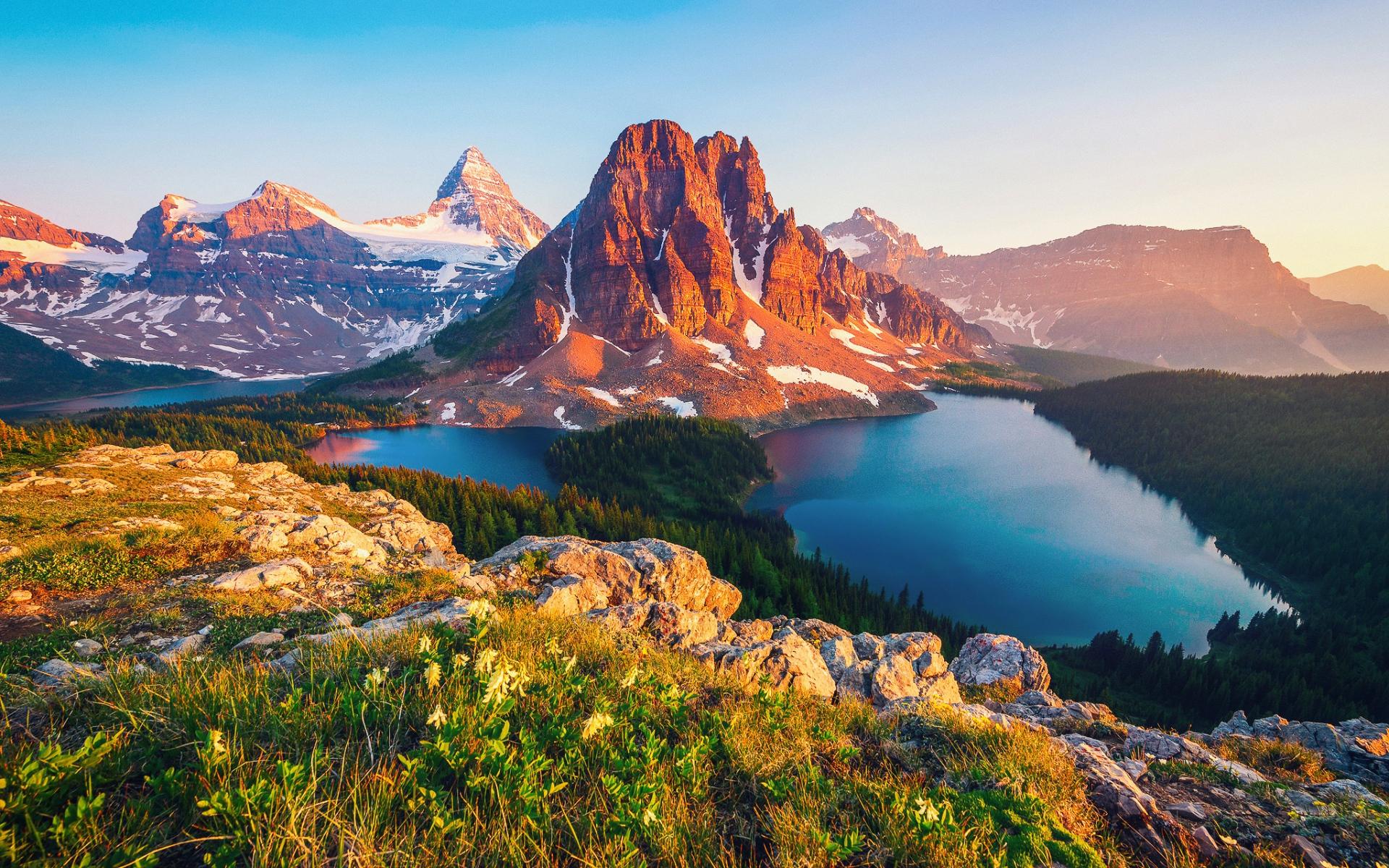 Картинки Канада, Британская Колумбия, гора, озеро фото и обои на рабочий стол