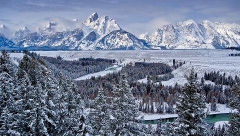 Великий тетон национальный парк, сша, горы, долина, снег