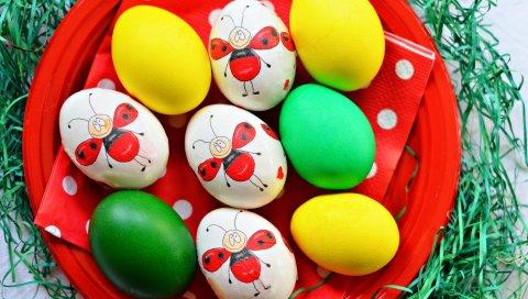 Пасхальные яйца, краска, тарелка, украшения