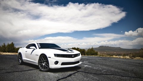шевроле, Camaro SS, белый, вид сбоку