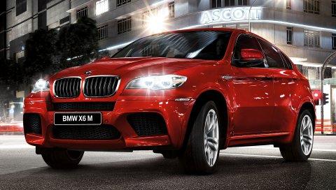 BMW x6, бмв, красный, вид сбоку