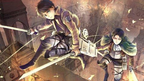 атаки на Титане , не shingeki нет Kyojin, Эрен Йегер, аниме, искусство, rivaille, Levi