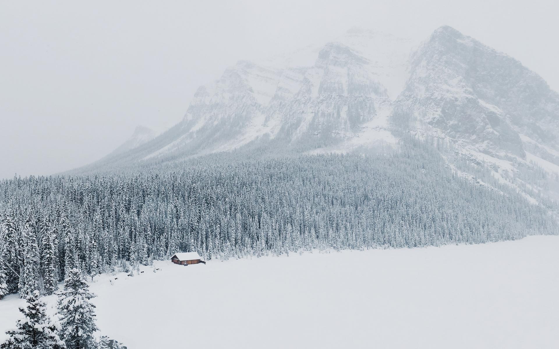 Картинки Зима, снег, горы, деревья фото и обои на рабочий стол