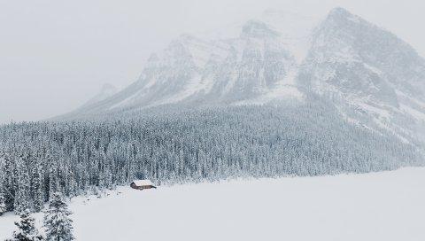 Зима, снег, горы, деревья
