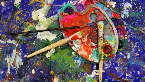 Кисть, палитра, краска, искусство