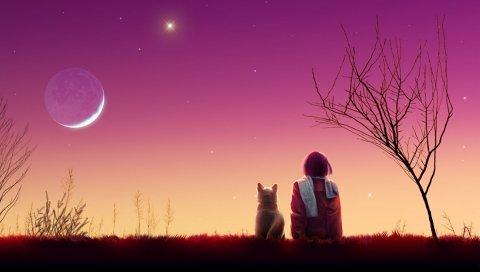 Kagaya moon, аниме, девушка, кошка, закат, природа