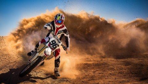 Мотоцикл, гонки, пыль, всадник, спорт