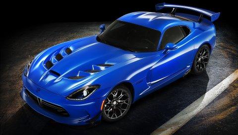 Dodge, viper, ta, 2015, синий, вид сбоку