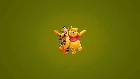 Winnie the pooh, тигр, минимализм, искусство