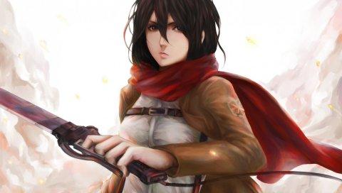 Mikasa ackerman, shingeki no kyojin, искусство, девушка, аниме, меч