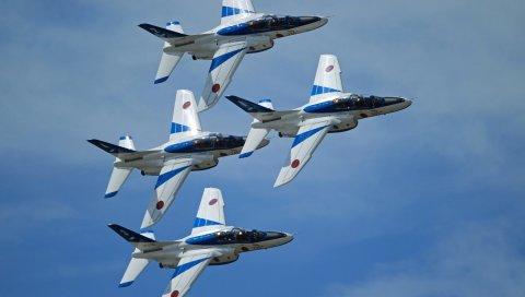 Kawasaki t-4, синий импульс, пилотажная команда, самолеты, небо