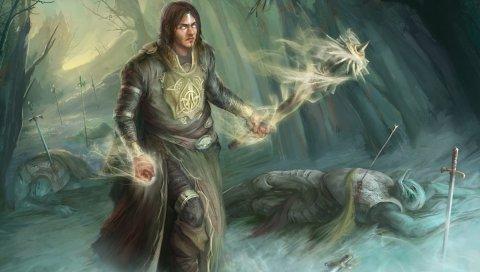 Трупы, маг, воин, лес, искусство, фэнтези