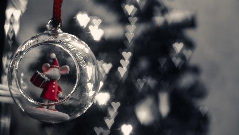 Рождественские игрушки, мышь, блики, сердце, стекло