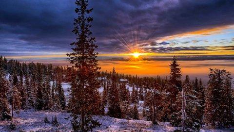 норвегия, долина, зима, горы