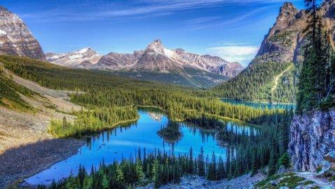озеро, горы, деревья, трава