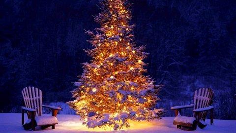 Новый год, рождество, елка, украшение, стулья, снег, гирлянда