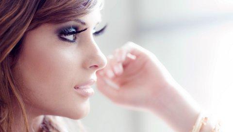 Девушка, модель, лицо, профиль, макияж