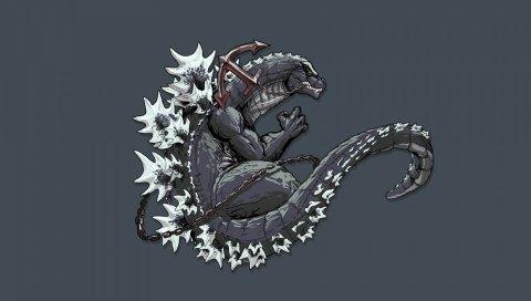 Godzilla, монстр, искусство, динозавр, хвост, якорь