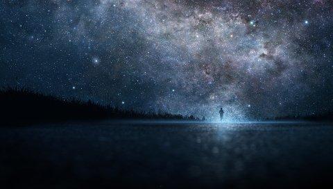 звезда, искусство, небо, ночь, люди, силуэт