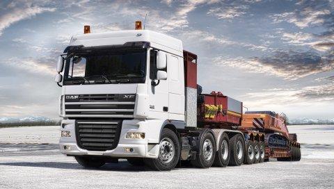Daf, XF105, грузовик, автомобиль, вид сбоку, прицеп, экскавато