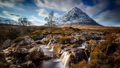 горы, трава, река, дерева, скалу