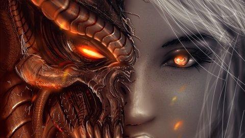 Диабло 3, девушка, искусство, ангелы, демоны