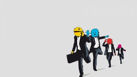 Pac-man, монстры, вектор, костюмы, бег трусцой