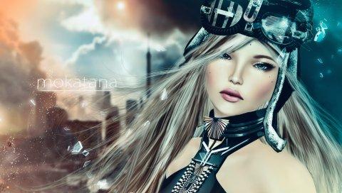 Рендеринг, девушка, искусство, глаза, волосы, светлые волосы, обломки