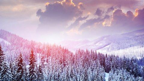 Пейзаж, зима, снег, деревья, горы, лес, небо, облака