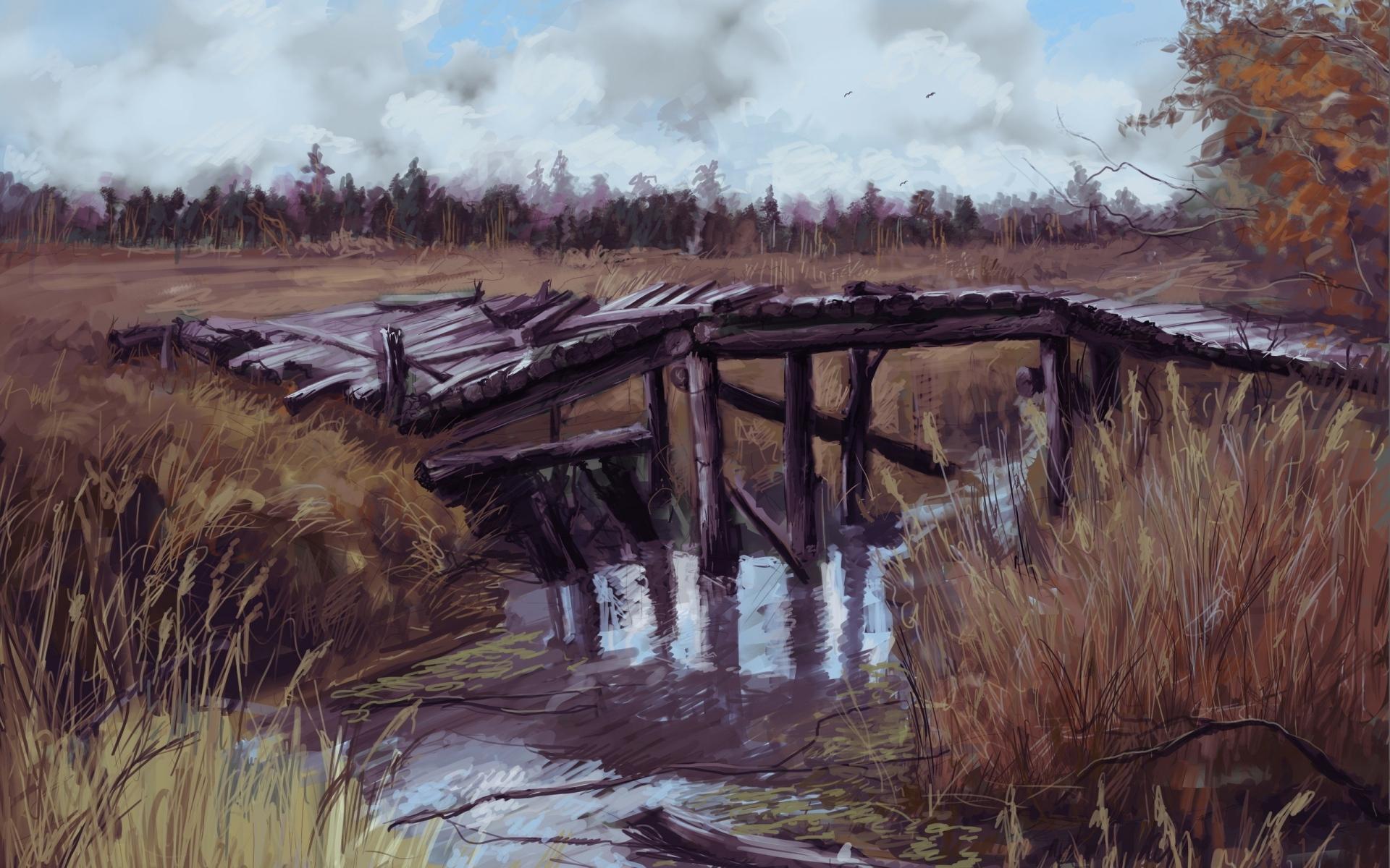 Картинки Сталкер, припять, трава, искусство, мост фото и обои на рабочий стол