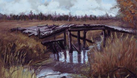 Сталкер, припять, трава, искусство, мост