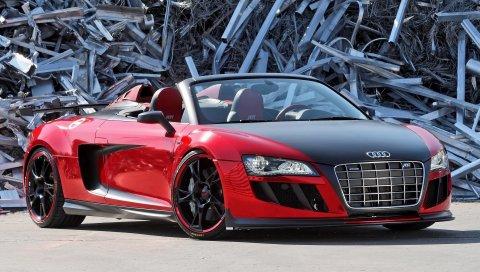 Audi r8, audi, конвертируемый, свалка, вид спереди