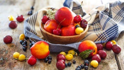 Фрукты, ягоды, тарелки, персики, вишни
