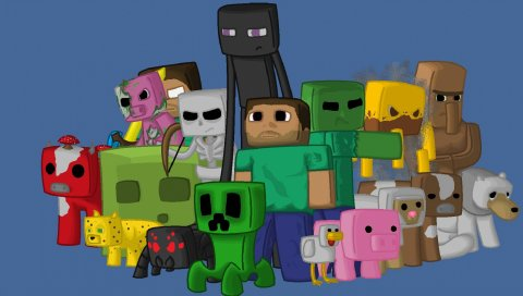 Minecraft, персонажи, игра, пиксели, java