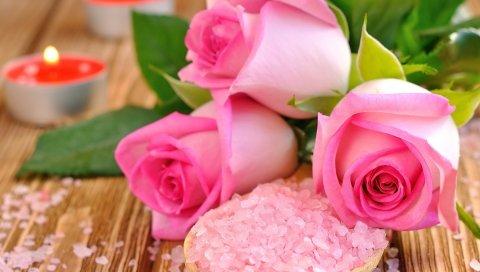 розы, соль, свечи, размытость